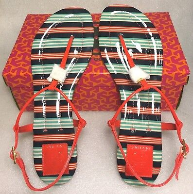 NIB Tory Burch Habanero Striped Emmy Sandals Size 10.5 NEW #092