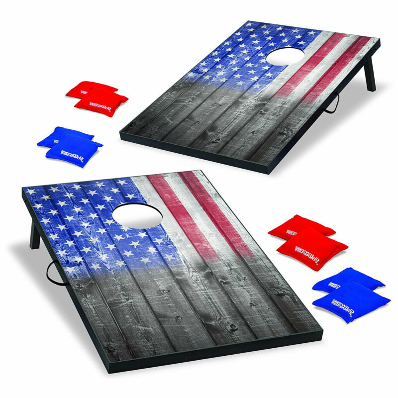 Wild Sports 2 x 3 Foot Stars and Stripes USA Flag Cornhole Outdoor Bags Game Set