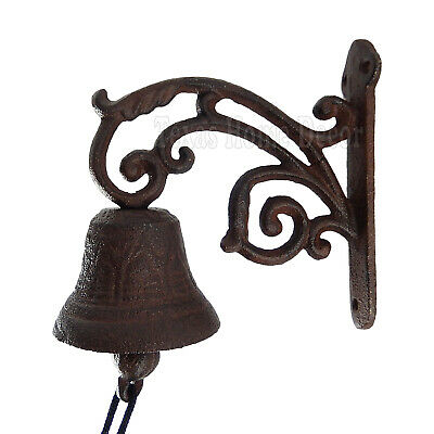 Vine Dinner Bell Cast Iron Wall Mounted Antique Style Rustic Finish Scrolls