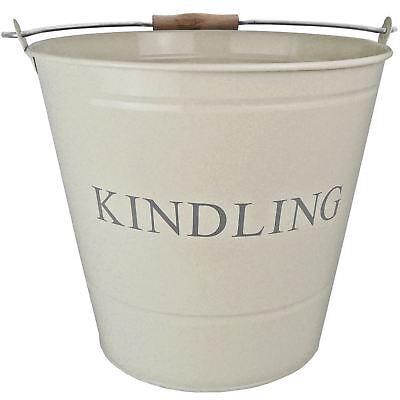 Large Cream Painted Kindling Fireside Bucket or Log Holder