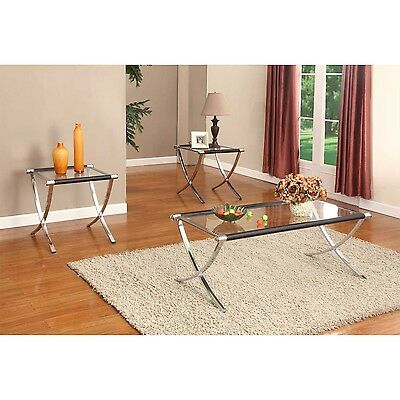 تربيزه جديد Chrome / Black Finish With Glass Top Coffee Table & 2 End Tables Occasional Set