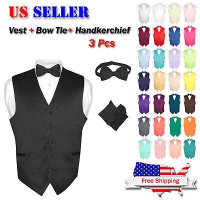 - Men's Dress Vest BOWTie Hanky Solid Color Waistcoat Bow Tie Set Suit or Tuxedo