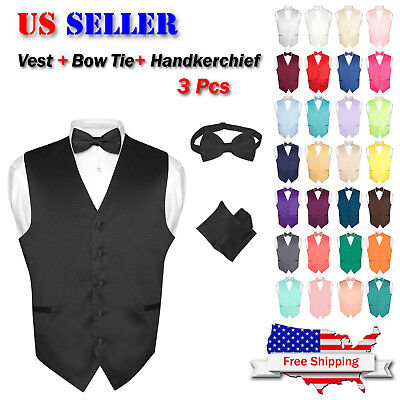 Men's Dress Vest BOWTie Hanky Solid Color Waistcoat Bow Tie