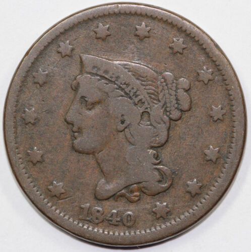 1840 1c N-2 Small Over Large 8 Braided Hair Large Cent