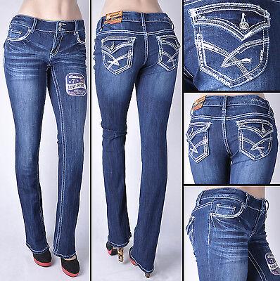 """NWT Junior """"AMETHYST"""" Stetchy denim Jeans BOOT LEG slim fit  Dark wash #ZM84860"""