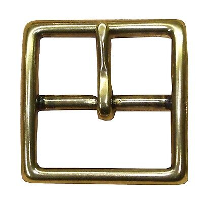 MASSIV MESSING Mittelsteg Schnalle Gürtelschnalle nickelfrei Ø 40 mm goldfarbig