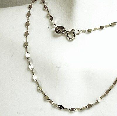 14k solid white gold 16 inches long mirror link beautiful very sparkly chain