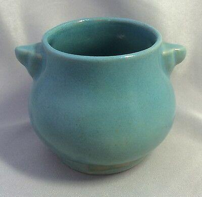 Original Vintage Turquoise BLUE Aqua ROSEMEADE Art POTTERY VASE North Dakota