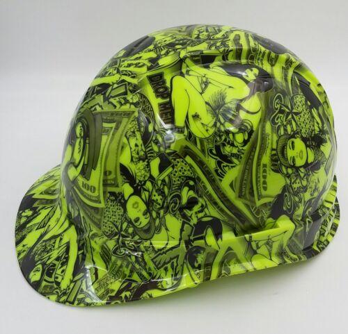 Hard Hat custom hydro dipped , OSHA approved HUSTLER GIRLS LIME GREEN 1