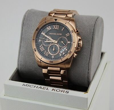 NEW AUTHENTIC MICHAEL KORS BRECKEN ROSE GOLD CHRONOGRAPH MEN'S MK8563 WATCH