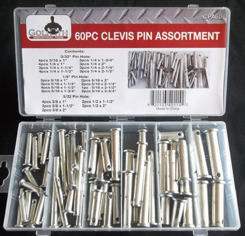 60pc GOLIATH INDUSTRIAL CLEVIS PIN ASSORTMENT 21 SIZES CPA60 HITCH TRACTOR
