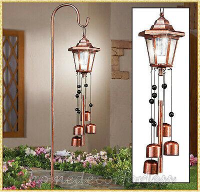 Solar Power Lantern Wind Chime Garden Yard Stake Outdoor Lawn Pathway Lighting Iron Outdoor Hanging Lantern