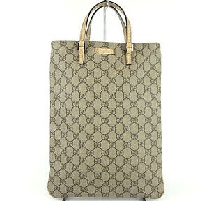 AUTHENTIC-GUCCI-GG-LOGO-BROWN-BEIGE-CANVAS-TOTE-HAND-BAG-PURSE-MADE-IN-ITALY