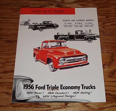 1956 Ford Light Duty Series Truck F-100 F-250 F-350 Pickup Sales Brochure 56