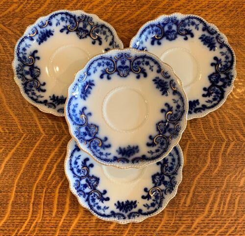 4 ANTIQUE GRINDLEY ENGLAND FLOW FLO BLUE COFFEE TEA SAUCER PLATES - ALASKA