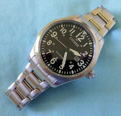 Citizen Eco-Drive E111-S07342 Gents Military style watch - Steel Case & Bracelet