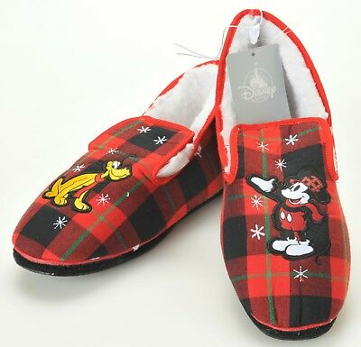 Disney Adult Slippers Plaid Fleece Lined Size US M 5/6 Women's 7 New ](Adult Disney Slippers)