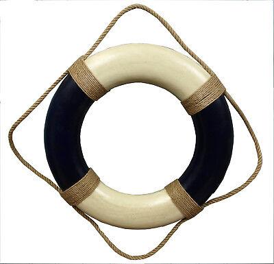 Deko Rettungsring 50 cm blau/beige im Antik-Look für die maritime Dekoration