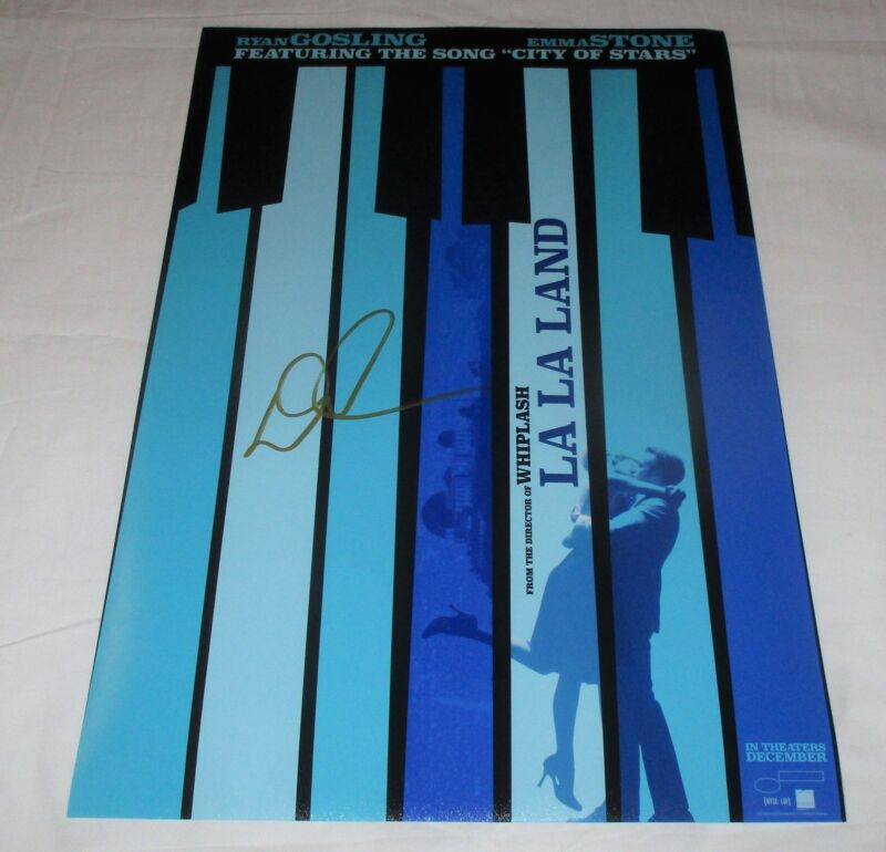 DAMIEN CHAZELLE SIGNED LA LA LAND 12X18 MOVIE POSTER 5