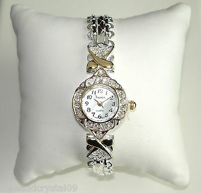 SINCERELY~ AUSTRIAN CRYSTAL GOLD & SILVER TONE LADIES BRACELET WATCH NEW