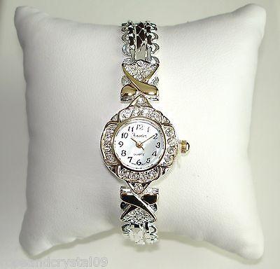 Austrian Crystal Bracelet Watch (SINCERELY~ AUSTRIAN CRYSTAL GOLD & SILVER TONE LADIES BRACELET WATCH)