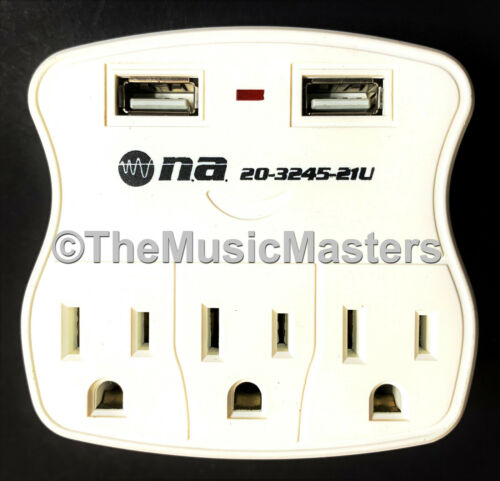 3 Outlet AC Wall Plug Surge Protector Power Suppressor with 2 USB Charging Ports