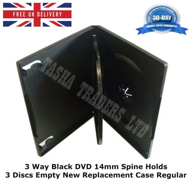 10 x 3 Way Black DVD 14mm Spine Holds 3 Discs Empty New Replacement Case Regular