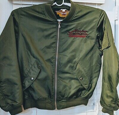 Harley-Davidson Motorcycle Bomber Nylon Jacket Olive Green Graphic Mens Size L
