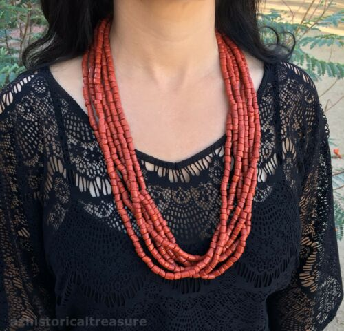 Native American Navajo Sterling Silver Mediterranean Coral Necklace By Sam Gray