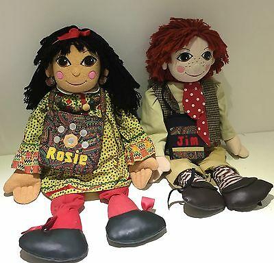 2 COMPLETE VINTAGE GIANT 30 INCH ROSIE AND JIM NARROW BOAT CANAL RAG DOLLS VGC