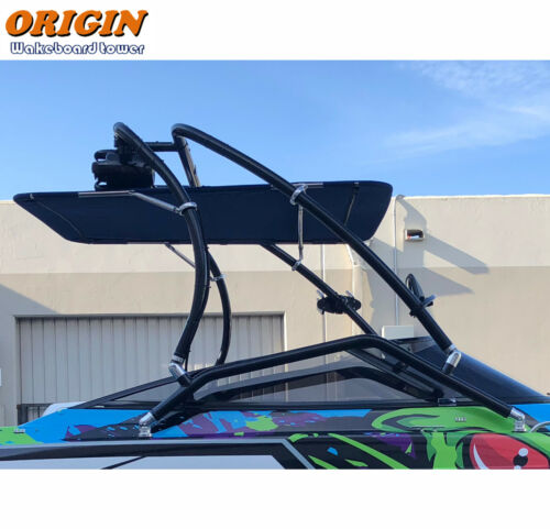 Pkg of Origin Catapult Boat Wakeboard Tower Black + Pro Tower Bimini Top