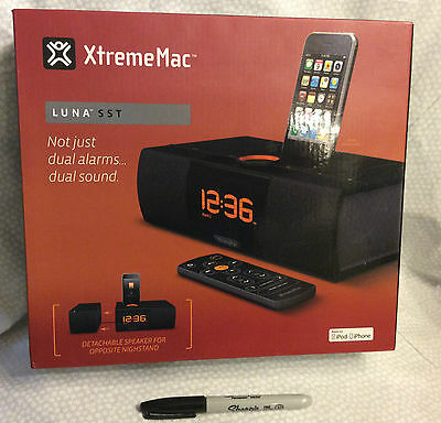 NIB-XTREMEMAC 02180 IPHONE/IPOD LUNA SST Siren CLOCK DOCKING STATION-ship free