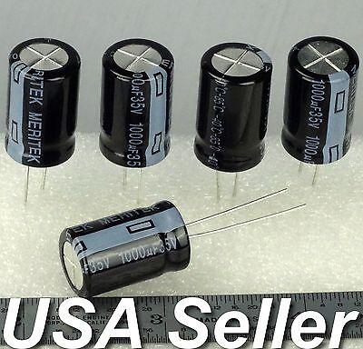 1000uf 35v Meritek Low Esr Electrolytic Capacitors 85c 5 - 20pcs - Usa Shipping