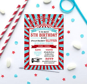 Circus themed Birthday Party Invitations *Any Age* - pack of 10 with envelopes