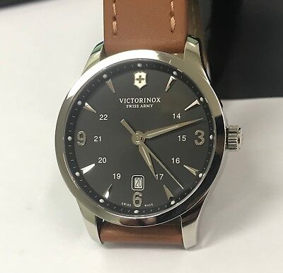 *Used* VICTORINOX Swiss Army Alliance Black Dial Brown Strap Men's Watch 241475