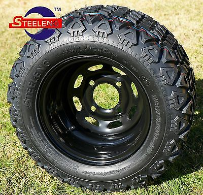 """GOLF CART 10"""" BLACK STEEL WHEELS/RIMS and 18""""x9""""-10"""" DOT ALL TERRAIN TIRES (4)  for sale  Greenville"""