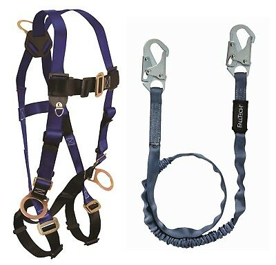 Falltech Safety Harness Kit 7017 Unifit 3 D-rings W6 Ft Lanyard Combo 1 Each