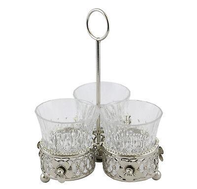Elegant Metallic Silver & Glass Utensil Holder 3 in 1 Sectioned -