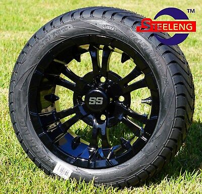 "GOLF CART 12"" BLACK 'VAMPIRE' WHEELS / RIMS and 215/40-12 LOW PROFILE TIRES (4)"