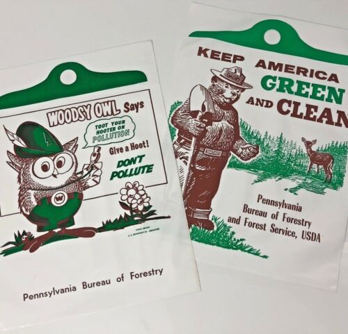 Vintage Smokey the Bear Car Litter Bag Woodsy Owl PAIR Give A Hoot PA Forestry