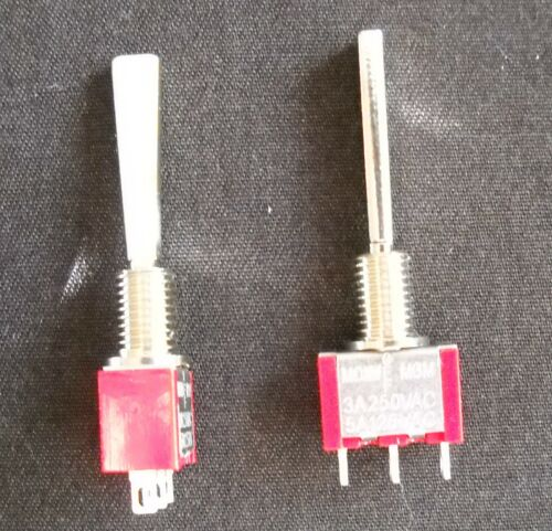 Mini toggle switch On off On MOMENTARY Long Flat handle X 2  (TWO)