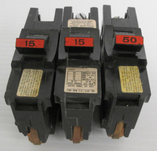 Mixed Lot of (3) FPE Type NA 1P 120/240VAC Circuit Breakers (2) 15A & (1) 50A