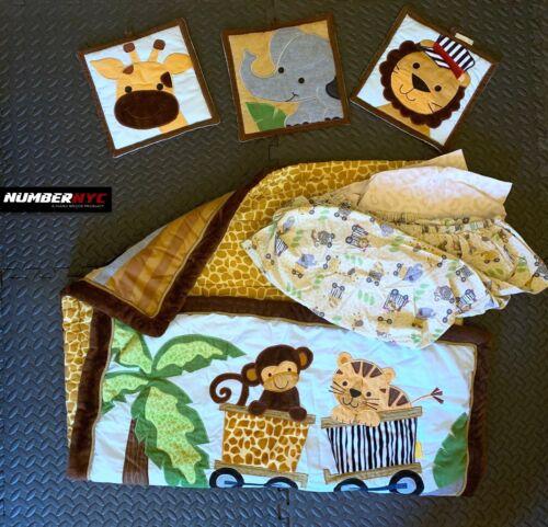 Safari Animals Cotton Baby Crib Bedding Bed Sheets Lion Giraffe Monkey Elephant