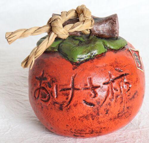 Japanese Vintage Clay Bell Persimmon Autumn Fruit Handmade Dorei
