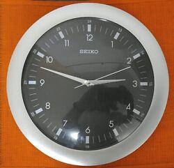 QXA137KLH Seiko Round Wall Clock Black Dial & Silver Surround 12
