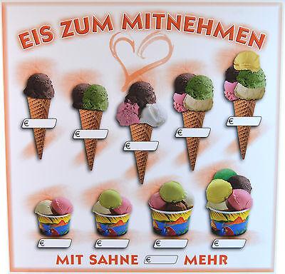 Preisschild Eiscafe Eis zum Mitnehmen Eistüte Eiswaffel Eiskugel Eis Werbung Neu