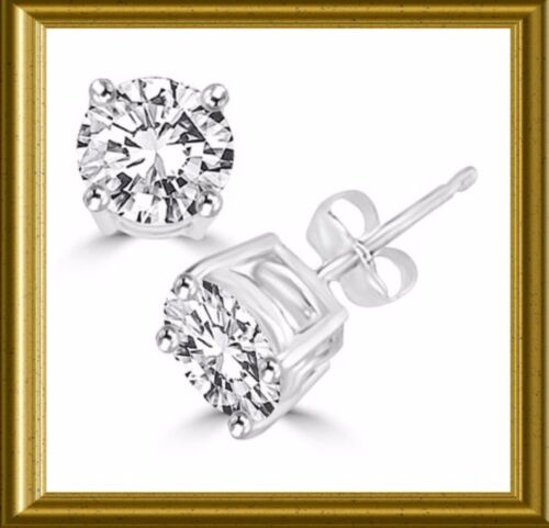 NIB DIAMOND ESSENCE ROUND BRILLIANT STONE STUD EARRINGS~14K WHITE GOLD~3.0 TCW