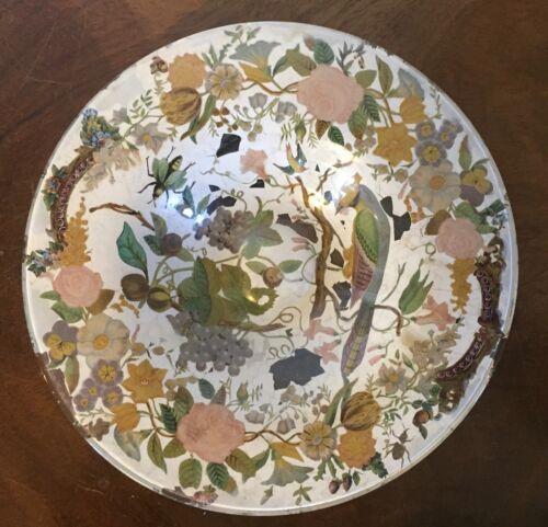 Antique 19th century English Regency Glass Decalcomania Plate w/ Birds Eglomise