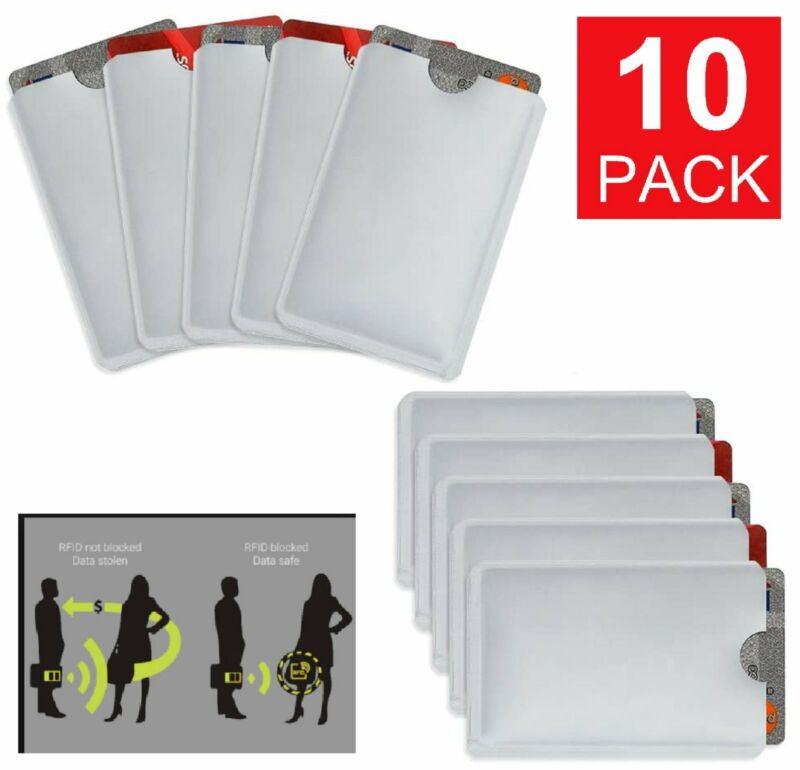 10-Pack Anti Theft Credit Card Protector RFID Blocking Safety Sleeve Shield