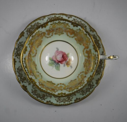 Paragon Rose Green with Gold Cup Saucer HM The Queen & HM Queen Mary